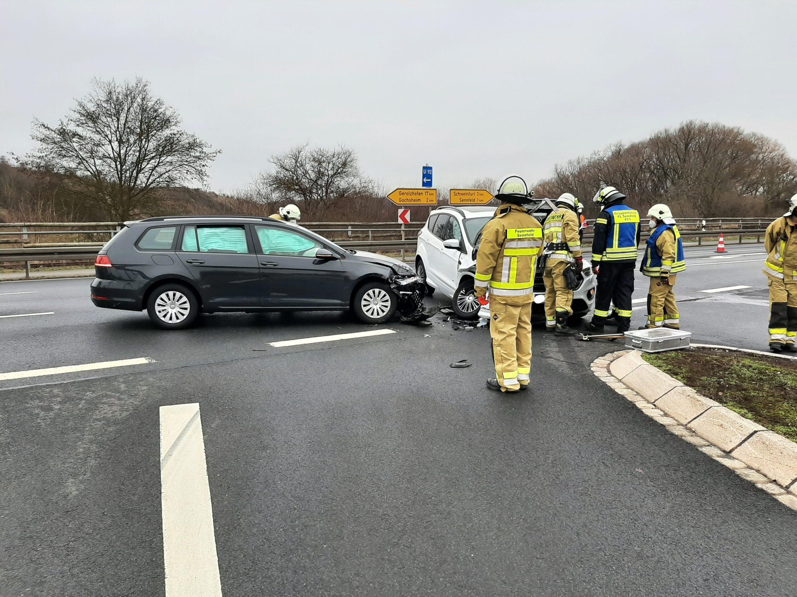 Verkehrsunfall an der Auffahrt A70 Richtung Schweinfurt